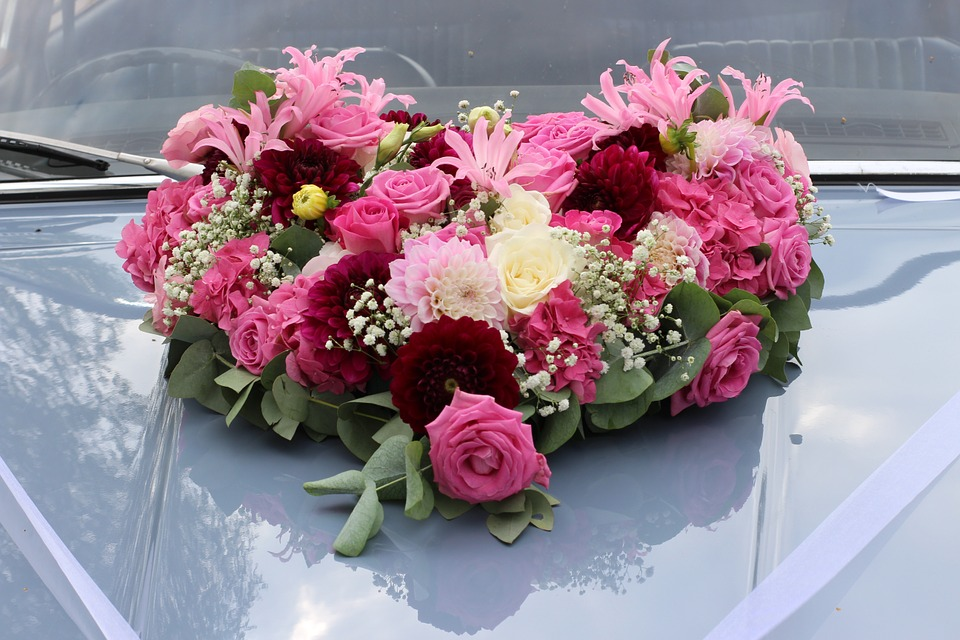 ハートの花飾り