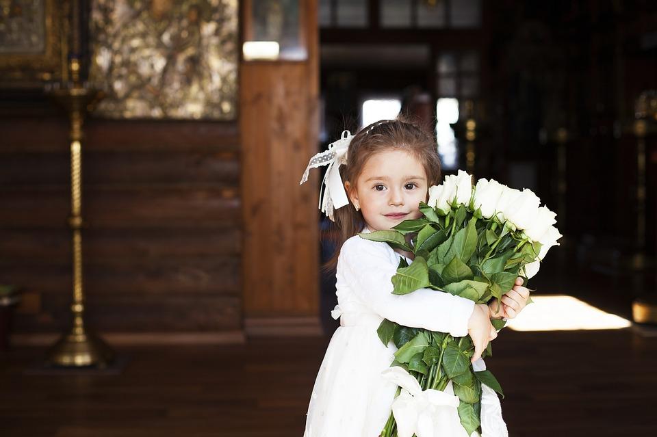 女の子と花束